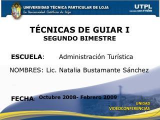 ESCUELA : Administración Turística