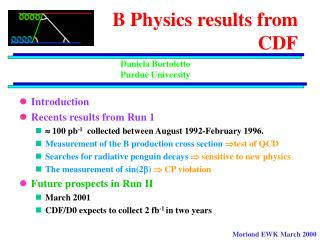 B Physics results from  CDF