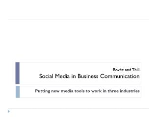 Bovée and Thill Social Media in Business Communication