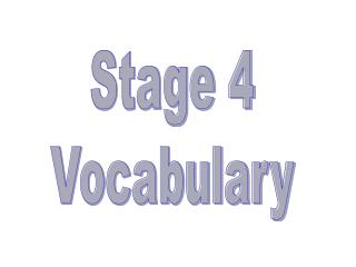 Stage 4 Vocabulary