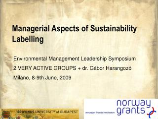 Managerial Aspects of Sustainability Labelling