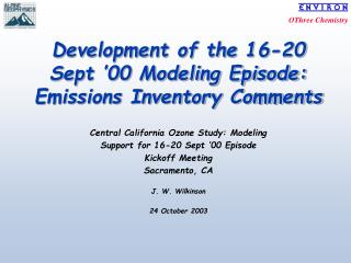 Development of the 16-20 Sept �00 Modeling Episode: Emissions Inventory Comments