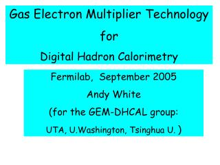Gas Electron Multiplier Technology for Digital Hadron Calorimetry