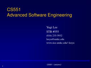 CS551 Advanced Software Engineering