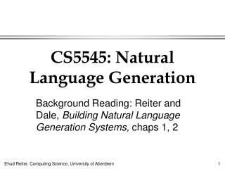CS5545: Natural Language Generation