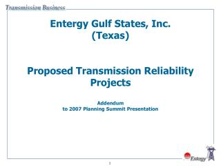 2009-10 EGSI-TX Proposed Transmission Reliability Projects