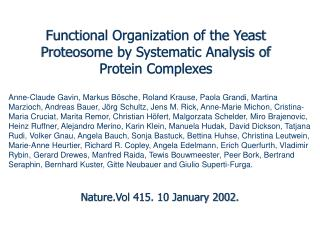 Functional Organization of the Yeast Proteosome by Systematic Analysis of Protein Complexes