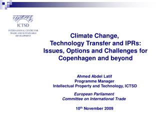 Ahmed Abdel Latif Programme Manager  Intellectual Property and Technology, ICTSD