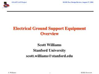 Electrical Ground Support Equipment Overview