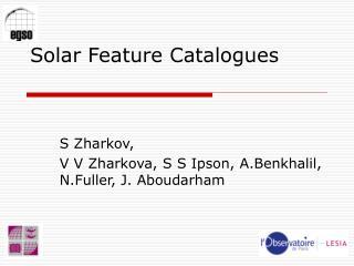 Solar Feature Catalogues