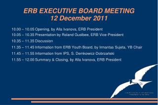 ERB EXECUTIVE BOARD MEETING 12 December 2011