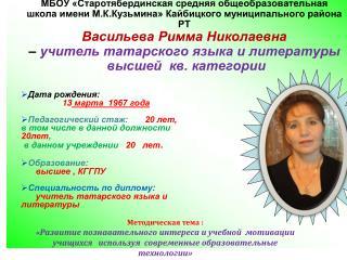 Дата рождения:                  13  марта  1967 года Педагогический стаж: 20 лет,