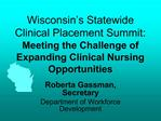 Wisconsin s Statewide Clinical Placement Summit:  Meeting the Challenge of Expanding Clinical Nursing Opportunities
