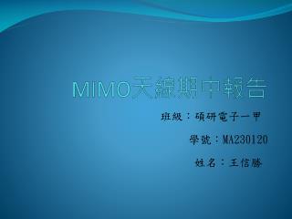MIMO 天線期中報告