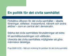 En politik för det civila samhället
