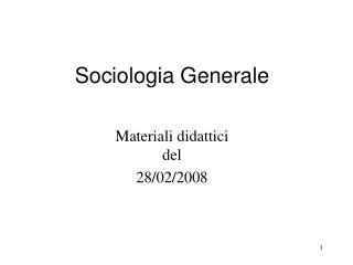 Sociologia Generale