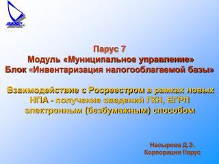 Насырова Д.Э. Корпорация Парус