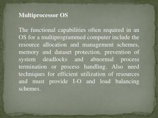 Multiprocessor OS