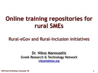 Online training repositories for rural SMEs  Rural-eGov and Rural-Inclusion initiatives