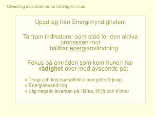 Uppdrag från Energimyndigheten: