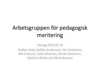 Arbetsgruppen för pedagogisk meritering