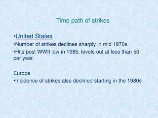 Time path of strikes