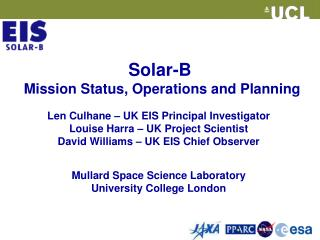 Solar-B  Mission Status, Operations and Planning