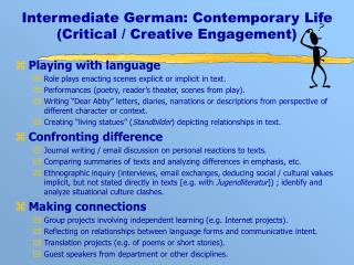 Intermediate German: Contemporary Life (Critical / Creative Engagement)