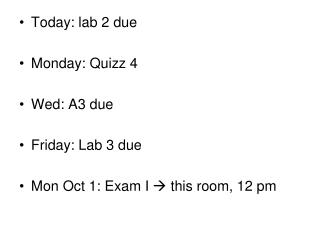 Today: lab 2 due Monday: Quizz 4 Wed: A3 due Friday: Lab 3 due