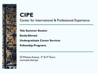 CIPE Center for International & Professional Experience