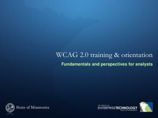 WCAG 2.0 training & orientation