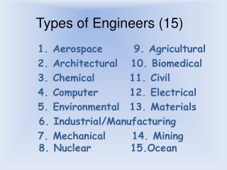 Types of Engineers (15)