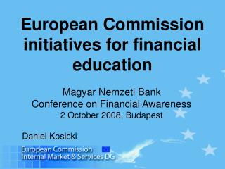 European Commission initiatives for financial education