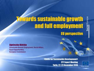 Towards sustainable growth  and full employment EU perspective