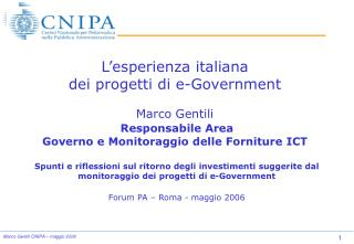 Area Governo e Monitoraggio Forniture ICT