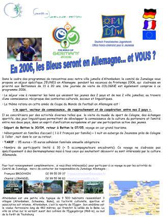 En 2006, les Bleus seront en Allemagne... et VOUS ?