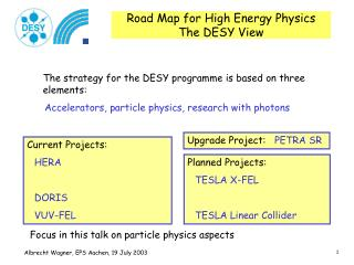 Road Map for High Energy Physics The DESY View
