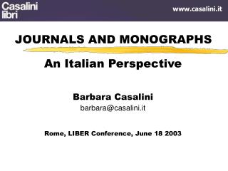 JOURNALS AND MONOGRAPHS