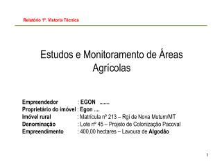 Estudos e Monitoramento de Áreas Agrícolas