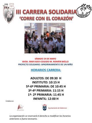 III CARRERA SOLIDARIA 'CORRE CON EL CORAZÓN'