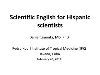 Scientific English for Hispanic scientists
