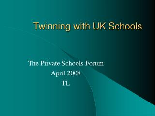 Twinning with UK Schools