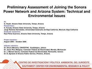 Preliminary Assessment of Joining the Sonora Power Network and Arizona System: Technical and Environmental Issues