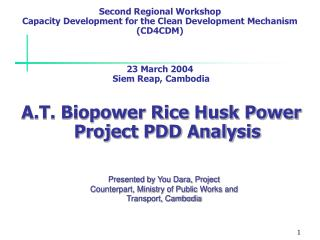 A.T. Biopower Rice Husk Power Project PDD Analysis