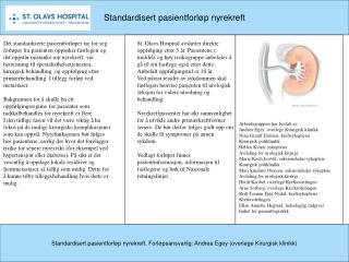 Standardisert pasientforløp nyrekreft