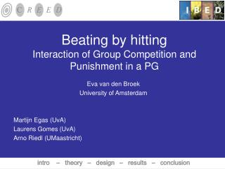Beating by hitting  Interaction of Group Competition and Punishment in a PG