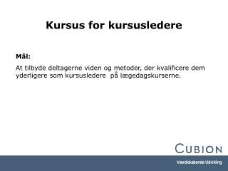 Kursus for kursusledere
