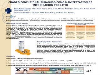 CUADRO CONFUSIONAL SUBAGUDO COMO MANIFESTACIÓN DE INTOXICACION POR LITIO