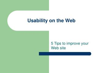 Usability on the Web