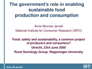 The government's role in enabling sustainable food  production and consumption